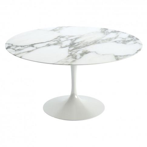 Tulip Dining Table Arabescato Marble & White Base 137cm