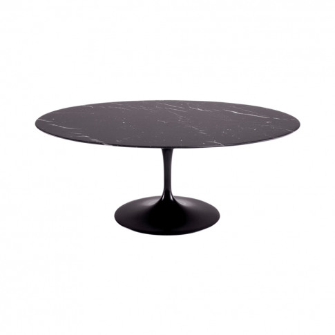Tulip Dining Table Nero Marquina Marble Top & Black ...