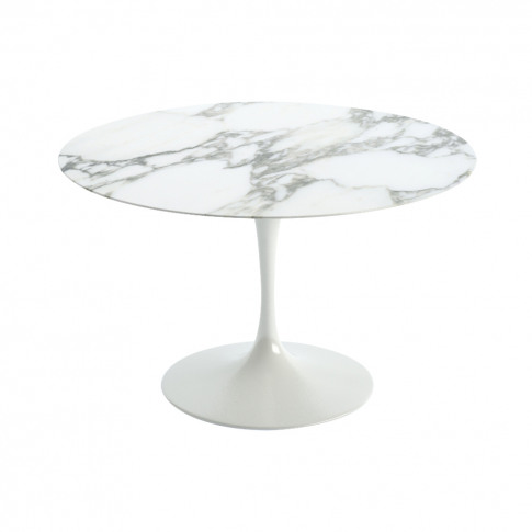 Tulip Dining Table Arabescato Marble Top & White Bas...