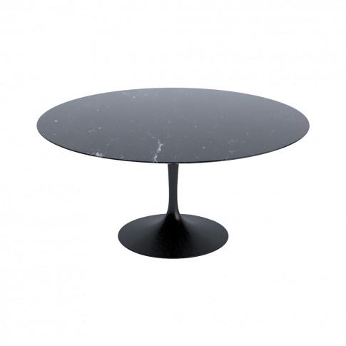 Tulip Dining Table Nero Marquina Marble & Black Base...