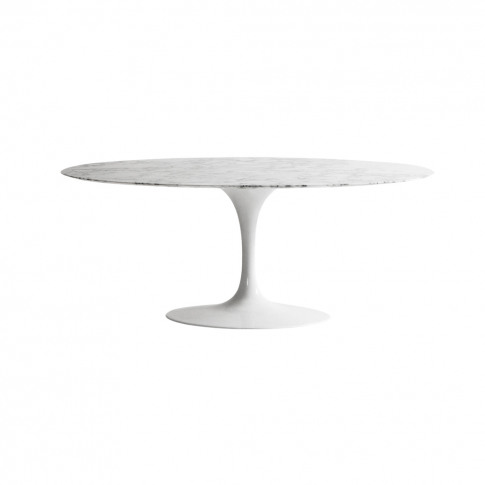Tulip Dining Table Arabescato Marble & White Base Oval 198cm