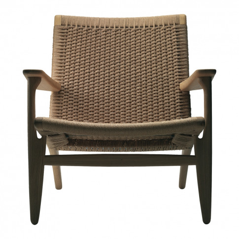 Ch25 Low Armchair White Oiled Oak & Natural Paper Co...