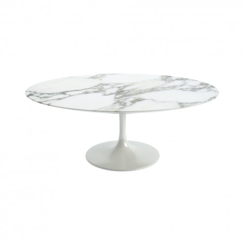 Tulip Oval Coffee Table Arabescato Marble & White Ba...