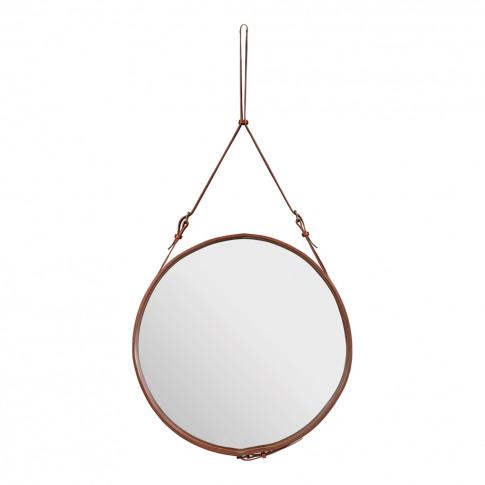Adnet Mirror 70cm Tan Leather