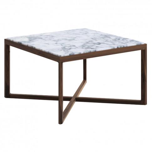 Krusin Side Table Walnut Stained Oak & Arabescato Ma...