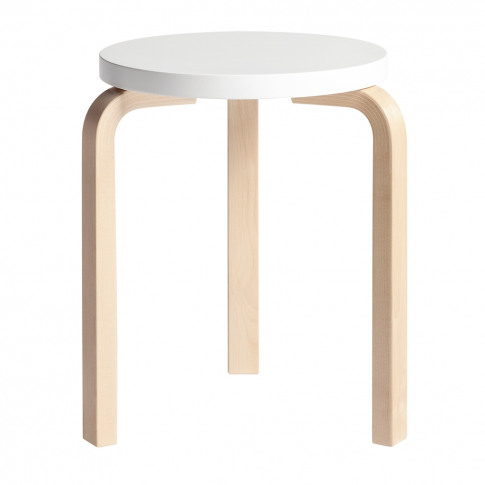 Stool 60 Seat Lacquered White