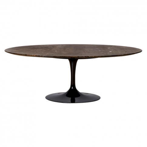 Tulip Oval Coffee Table Emperador Marble & Black Bas...