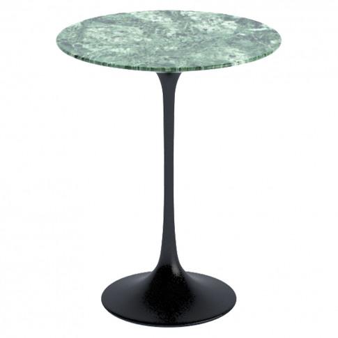 Tulip Side Table Verdi Alpi Marble & Black Base 41cm