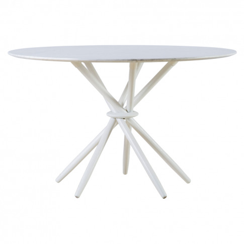 Stix Dining Table Carrara Marble & White