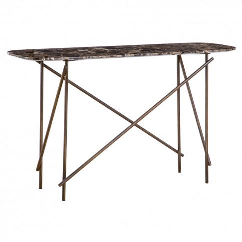 Workshop Console Table Emperador Marble Low