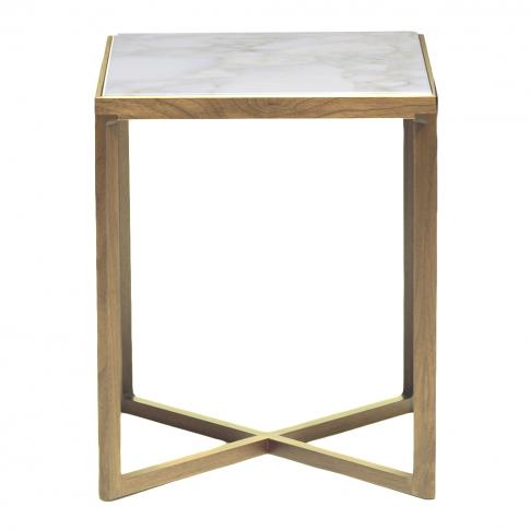 Krusin Side Table Oak & Calacatta Marble Top