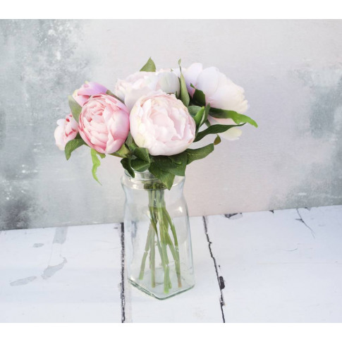 Faux Pink Peony Bouquet In Vase