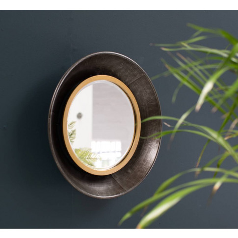 Bevel Edged Blackened Mirror With A Gold Edge