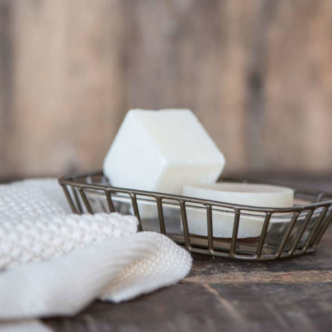 Clear Soap Dish With Metal Tray
