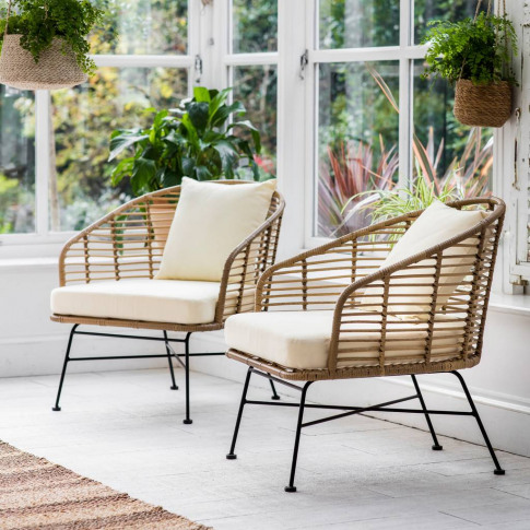 Set Of Two Bamboo Garden Chair
