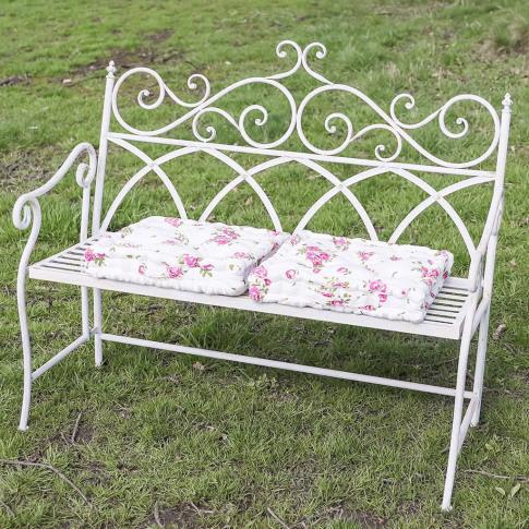 Luxury Edwardian White Folding Garden Bench