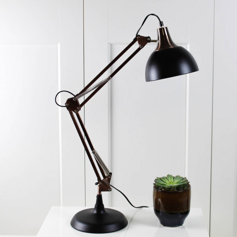 Copper And Black Angled Desk Lamp
