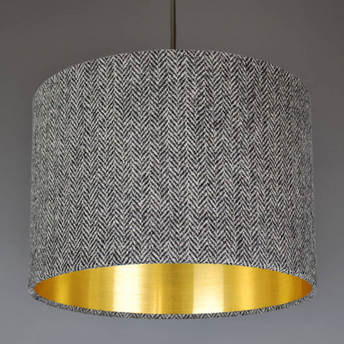 Grey Harris Tweed Lampshade Choice Of Metallic Lining