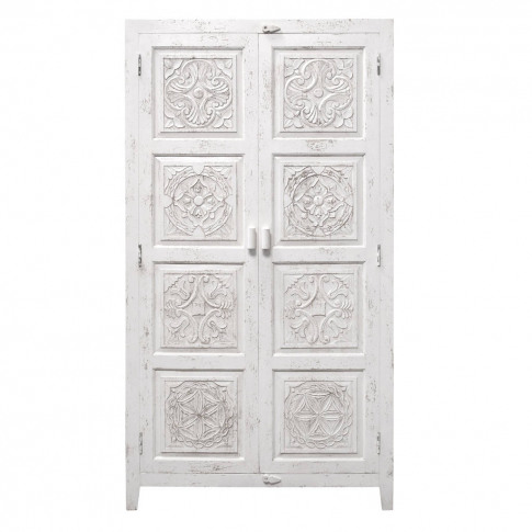 Hand Carved Wooden Cabinet In Antique White