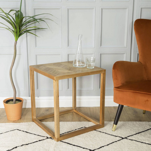 Parquet Top Side Table