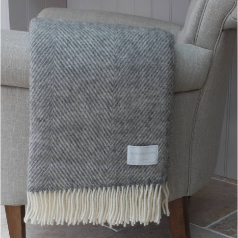 Natural Grey Herringbone Wool Throw