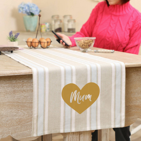 Cotton Stripe Personalised Table Runner