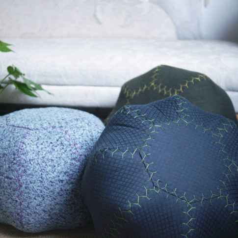 Moroccan Inspired Hand Stitched Pouffes Round