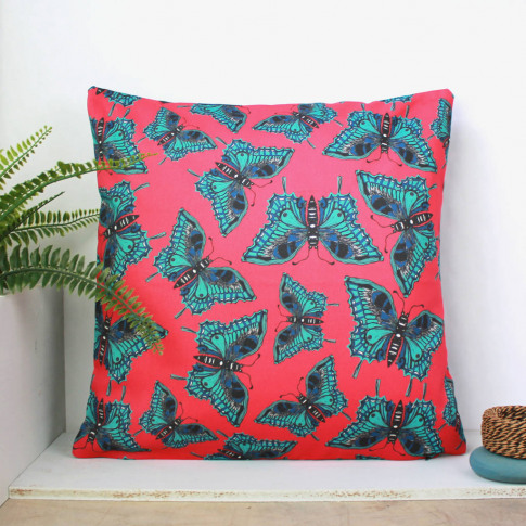 Pink Botanical Butterfly Cushion