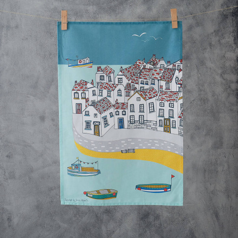 Coastal Village Tea Towel