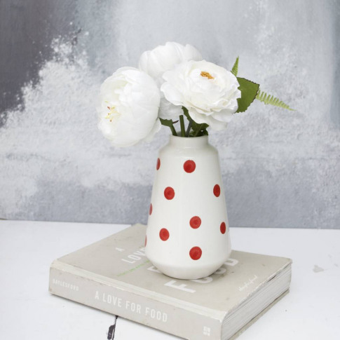 Off White Peony And Fern Bouquet In Spotted Vase