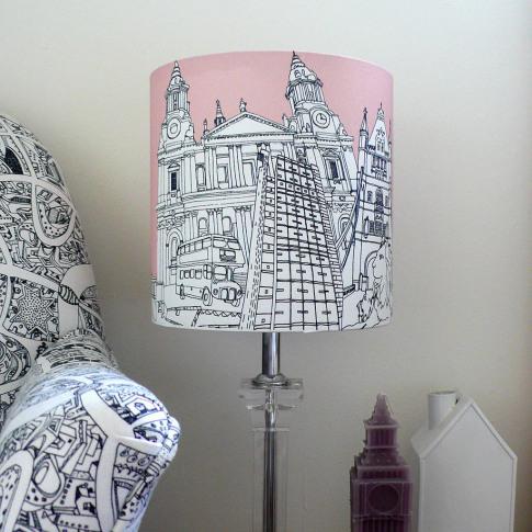 London Hand Drawn Lampshade Pink
