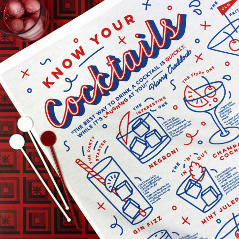 Know Your Cocktails Tea Towel