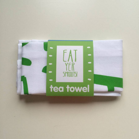 Eat Yer Sprouts Christmas Tea Towel
