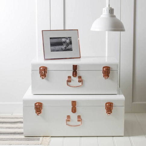 Two White And Copper Storage Trunks