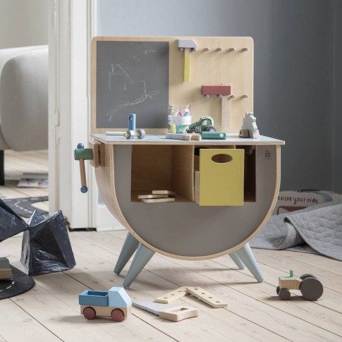 Warm Grey Wooden Toy Bench With Tool Kit