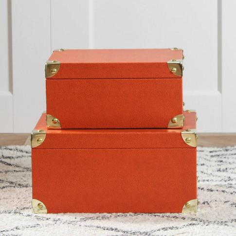 Orange Faux Leather Storage Boxes