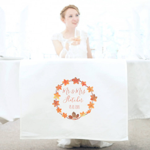 Personalised Autumn Wedding Table Runner