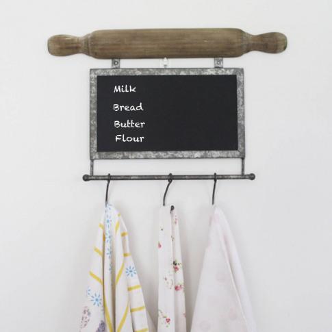 Kitchen Blackboard With Tea Towel And Apron Hooks