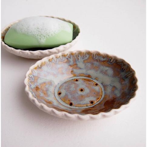 Handmade Blue Brown Oval Ceramic Soap Dish