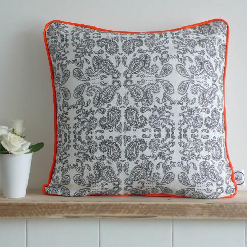 Hand Drawn Paisley Piped Cushion