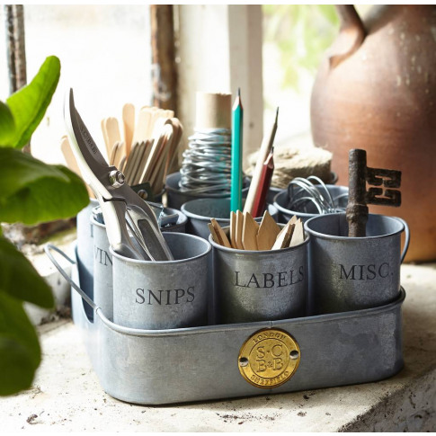 Galvanised Garden Storage Pots