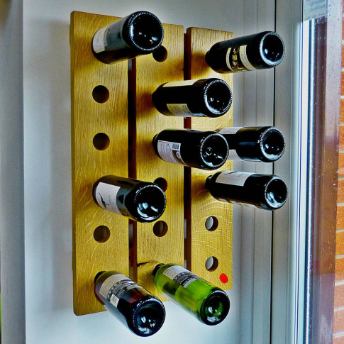 Wine Rack Wall Mounted Handmade In Solid Oak 18 Bottles