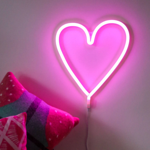 Neon Style LED Heart Wall Light