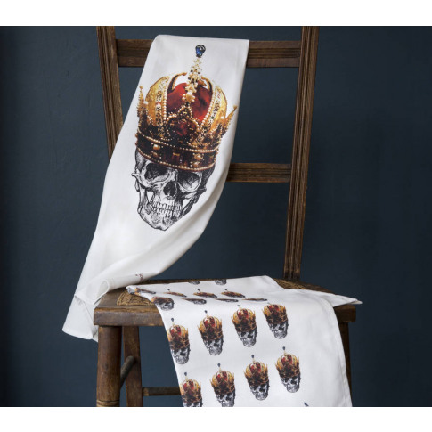 Skull In Red Crown Set Of Two Tea Towels