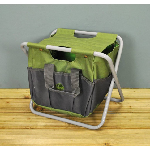 Canvas Garden Storage Tool Stool In Green And Grey