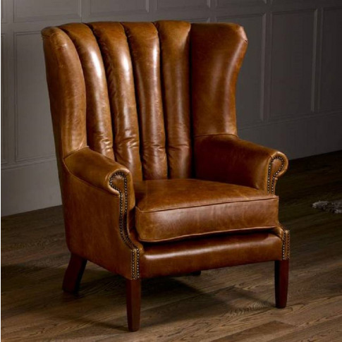 Vintage Italian Leather Fluted Wing Armchair