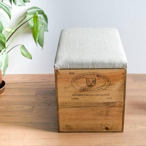 Plain Linen Wine Crate Blanket Box