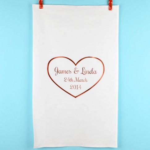 Personalised Copper Heart 'Anniversary' Tea Towel