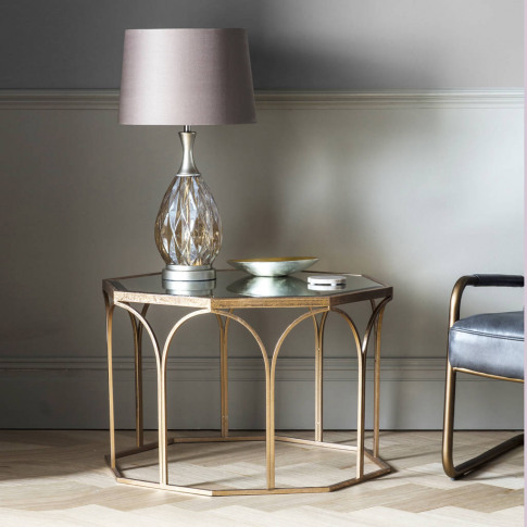 Octagonal Copper Coffee Table With Mirror Top