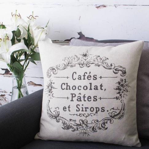 'Cafes Et Chocolat' Cushion Cover